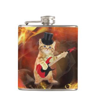 rocker cat in flames flasks