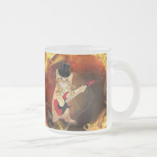 rocker cat in flames frosted glass coffee mug