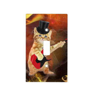 rocker cat in flames light switch cover