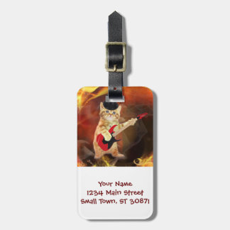 rocker cat in flames luggage tag