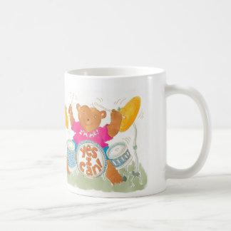 "rocker drummer bear says ""YES I CAN!"" Classic White Coffee Mug"