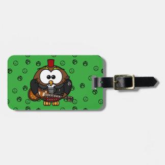 rocker owl luggage tag