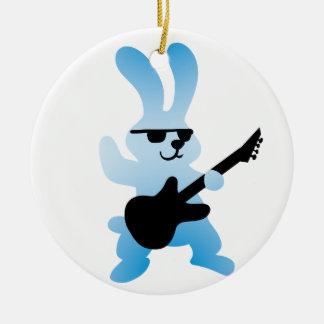 Rocker rabbit ceramic ornament