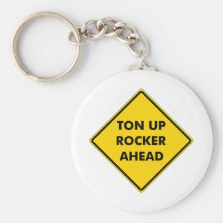 Rockers Caution Sign Basic Round Button Keychain