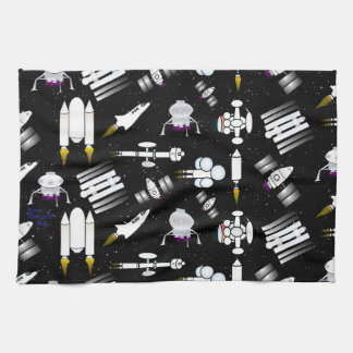 Rocket and Spaceship Pattern in stars Hand Towels