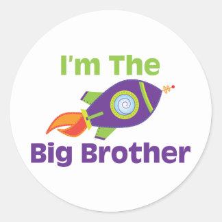 Rocket Big Bro Round Sticker