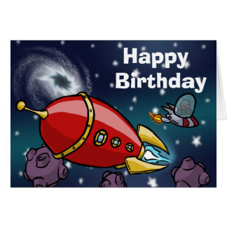 Rocket Birthday Card