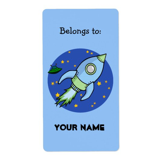 Rocket blue green Bookplate Label