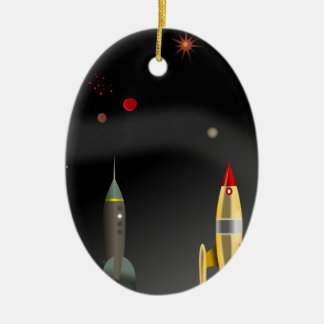 rocket ceramic ornament