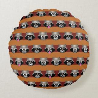 Rocket Emoji Stripe Pattern Round Pillow