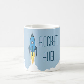 Rocket Fuel Blue Retro Cartoon Rocketship Funny Coffee Mug