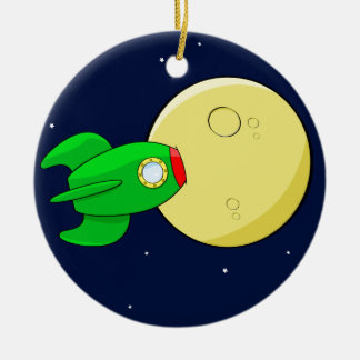 Rocket in the moon round ceramic ornament