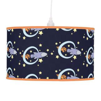 Rocket Kids Retro Spaceship Night Sky Pendant Lamp