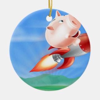 Rocket Piggy Bank Ceramic Ornament