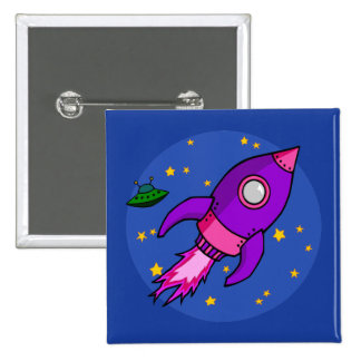 Rocket pink purple Button