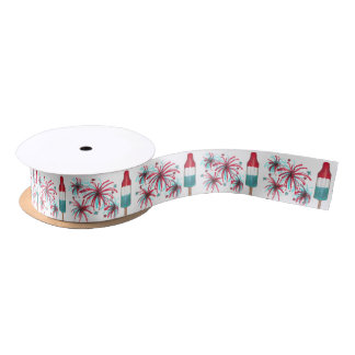 Rocket Pops and Fireworks July 4th Fourth Ribbon Satin Ribbon