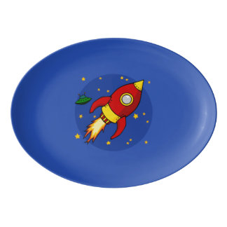 """Rocket red 13"""" x 9.25"""" Porcelain Coupe Platter"""