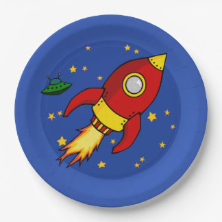 "Rocket red yellow 9"" Paper Plate"