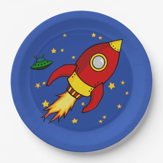 """Rocket red yellow 9"""" Paper Plate 9 Inch Paper Plate"""