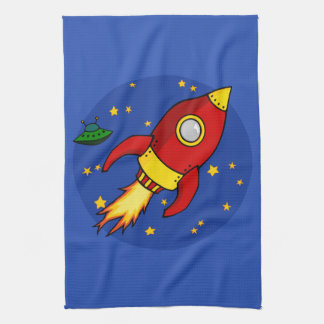 Rocket red yellow Kitchen Towel