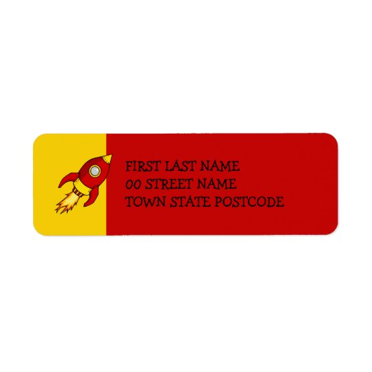 Rocket red yellow Return Address Label
