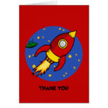 Rocket red yellow Thank You Note Card