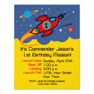 "Rocket Ship 1st Birthday Custom Invitations 4.25"" X 5.5"" Invitation Card"