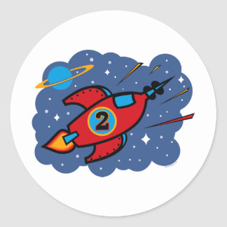Rocket Ship 2nd Birthday Classic Round Sticker