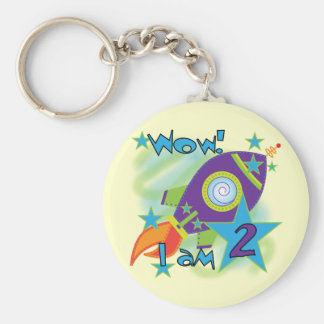 Rocket Ship 2nd Birthday T-shirts and Gifts Basic Round Button Keychain