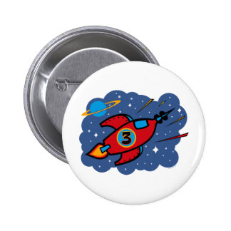 Rocket Ship 3rd Birthday Buttons