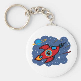 Rocket Ship 4th Birthday Keychain