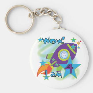 Rocket Ship 4th Birthday T-shirts and Gifts Basic Round Button Keychain