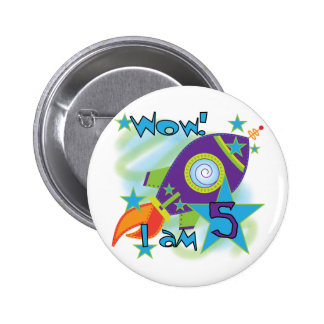 Rocket Ship 5th Birthday T-shirts and Gifts 2 Inch Round Button