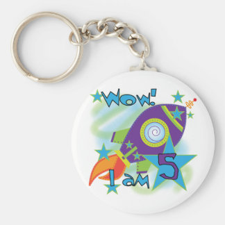 Rocket Ship 5th Birthday T-shirts and Gifts Basic Round Button Keychain