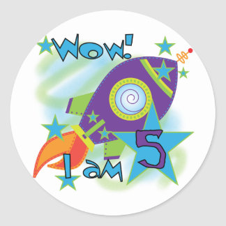 Rocket Ship 5th Birthday T-shirts and Gifts Classic Round Sticker