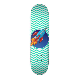 Rocket Ship; Aqua Green Chevron Custom Skateboard