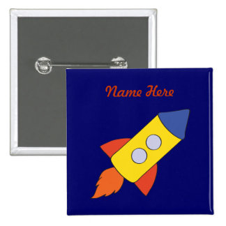 Rocket Ship Birthday Button