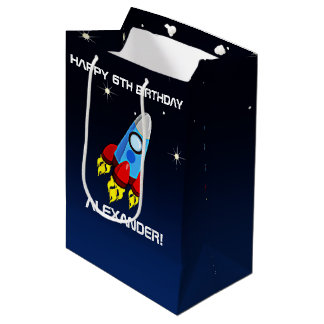 Rocket Ship Birthday Party Personalized Medium Gift Bag