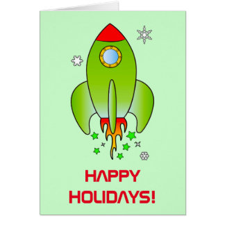 Rocket Ship Blast Off Holidays Card