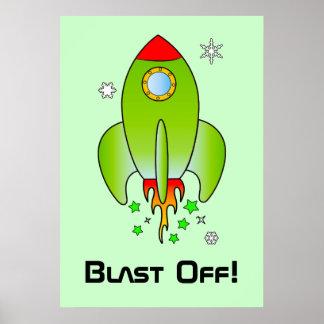 Rocket Ship Blast Off Poster