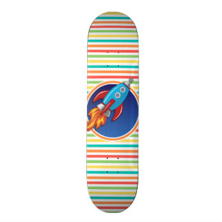 Rocket Ship; Bright Rainbow Stripes Custom Skate Board