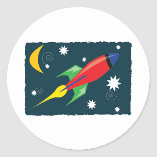 Rocket Ship Classic Round Sticker