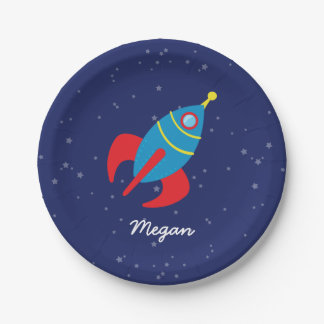 Rocket Ship in Space Paper Plate