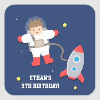 Rocket Ship Outer Space Astronaut Birthday Party Square Sticker