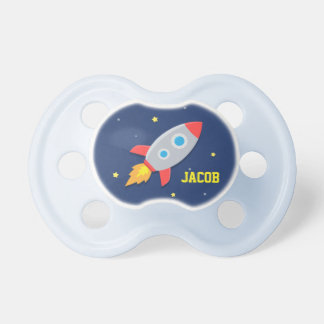 Rocket Ship, Outer Space, For Baby Boys Baby Pacifier