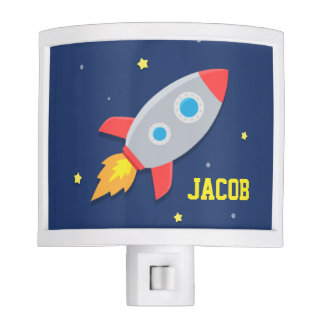 Rocket Ship, Outer Space, For Kids Room Night Lites
