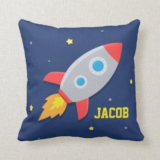 Rocket Ship, Outer Space, For Kids Room Throw Pillow