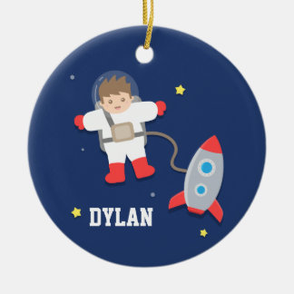 Rocket Ship Outer Space Little Astronaut Boys Room Ceramic Ornament