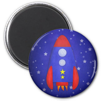 Rocket Ship Party Favor 2 Inch Round Magnet