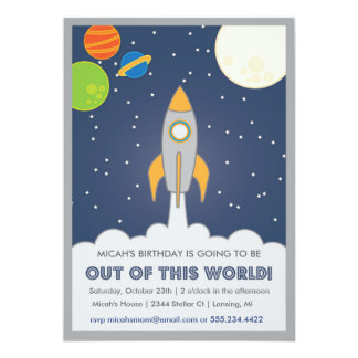 Rocket Ship Space birthday invite